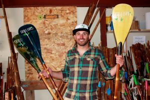 Mr. Bamboo: Beckler in his paddle-building headquarters