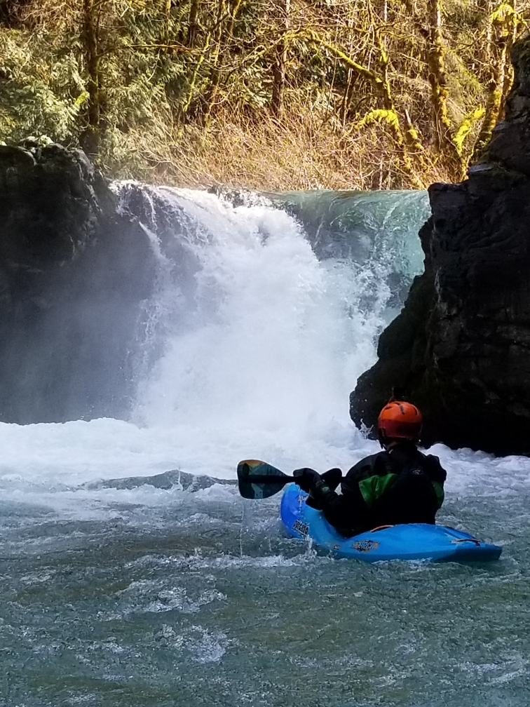 2021 Pyranha Scorch whitewater kayak paddled by Nick Hinds wearing Stohlquist PFD on Canyon Creek of the Lewis river in WA
