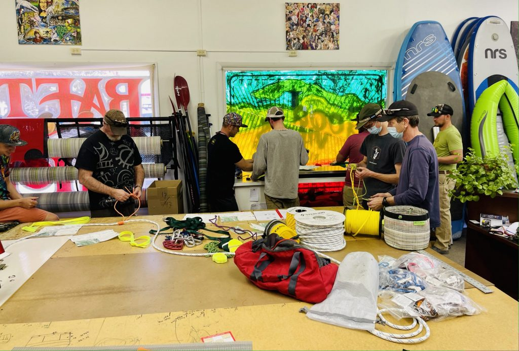 Classroom knot instruction for z-drag workshop at Good Vibes Raft Shop in Crag, CO