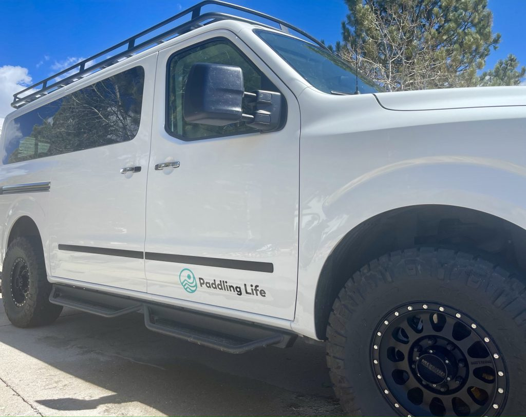 Paddling Life Nissan NV 3500 off road van for rafting and whitewater shuttle